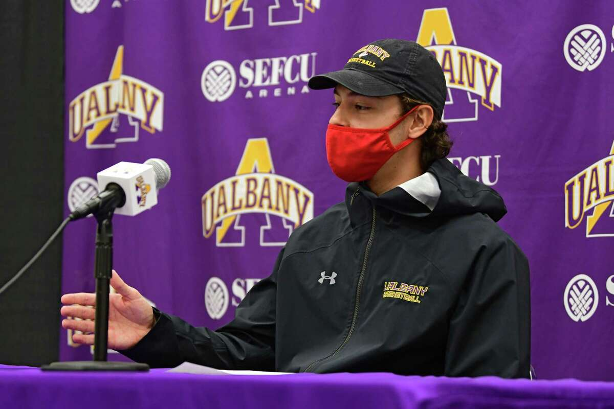 University at Albany's Cameron Healy speaks during a press conference before basketball practice at the SEFCU Arena on Wednesday, Oct. 21, 2020 in Albany, N.Y. (Lori Van Buren/Times Union)