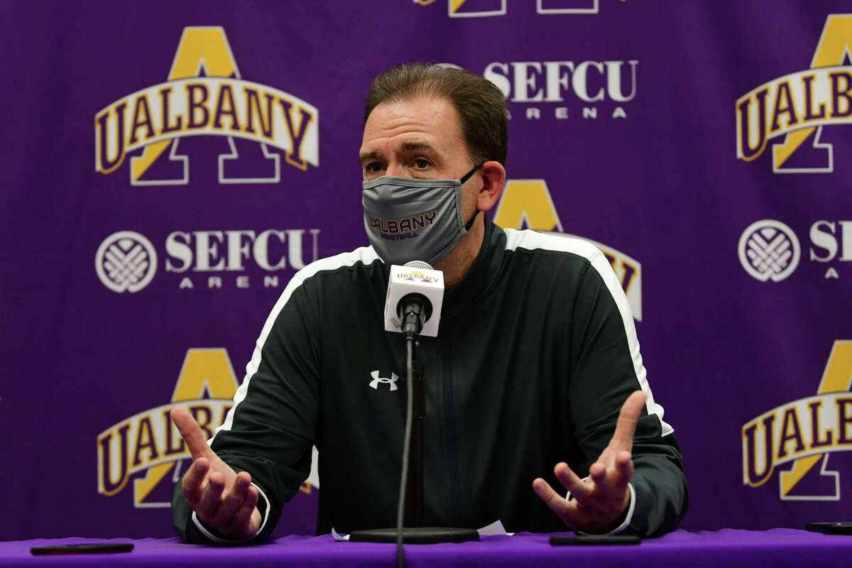 University at Albany men's basketball coach Will Brown speaks during a press conference before practice at the SEFCU Arena on Wednesday, Oct. 21, 2020 in Albany, N.Y. (Lori Van Buren/Times Union)