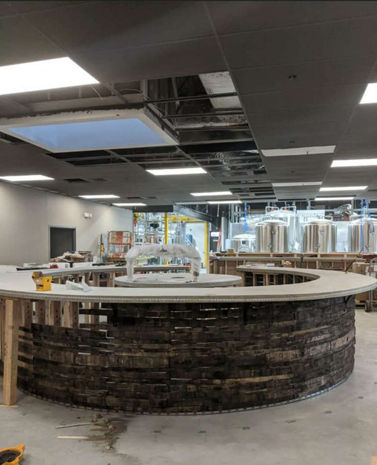 The interior of Concentric Brewing Co. brewpub under construction in Portland.