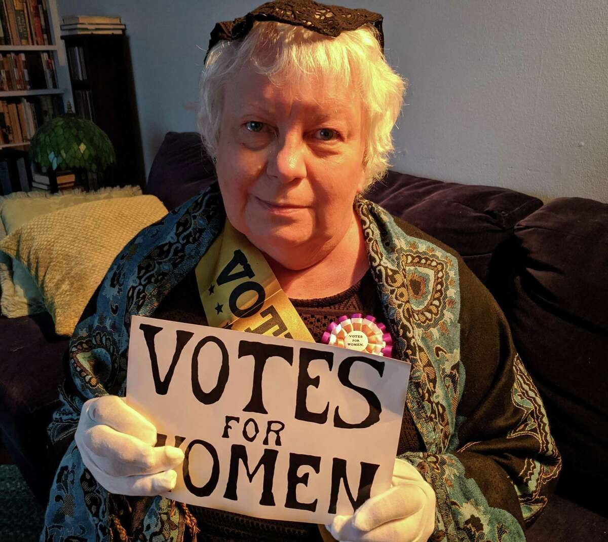 """Wilton Library staff member Lesley Keogh will channel her inner Elizabeth Cady Stanton, a founding mother of the Women's Suffrage Movement in the program """"Live with Elizabeth Cady Stanton."""""""