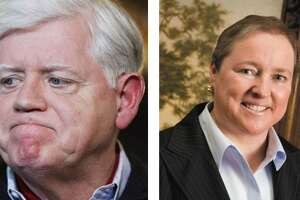 A composite image of U.S. Rep. John Larson and his challenger in the 2020 election, Republican Mary Fay.