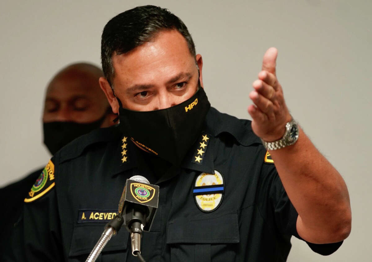Houston Police Department Chief Art Acevedo addresses the media at HPD headquarters, Wednesday, Oct. 21, 2020, in downtown Houston.