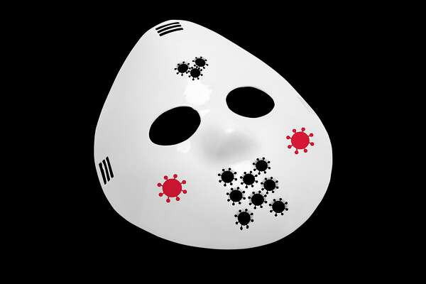 """An illustration of a hockey mask with Covid-19-shaped holes. Hockey masks were famously worn by the horror movie villain Jason Voorhees of the """"Friday the 13th"""" franchise."""