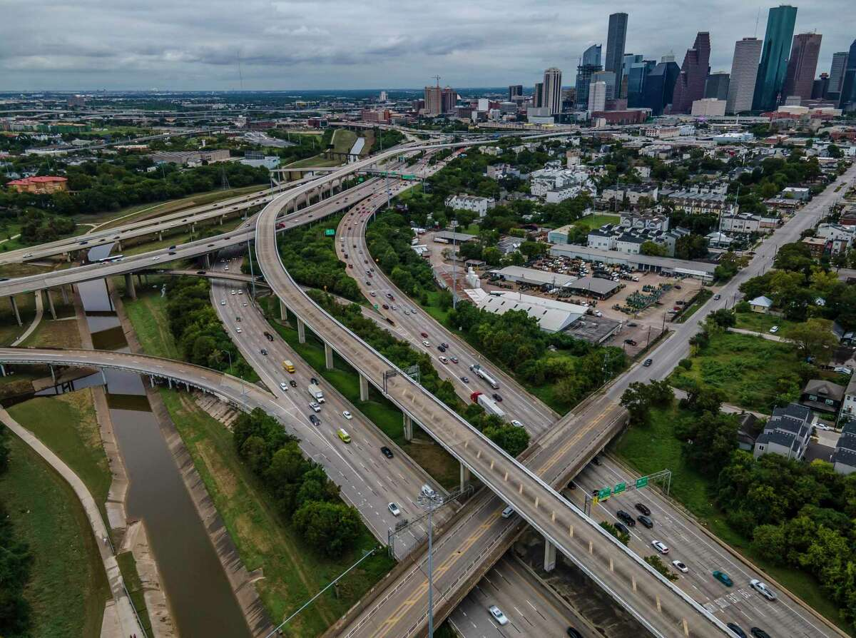 Interstate 10 runs into Interstate 45 near Stude Park along White Oak Bayou, seen on Sept. 24, 2020, in Houston.