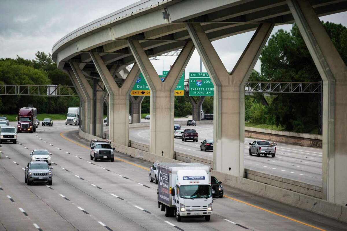 Traffic moves along Interstate 10 near Taylor Street on Sept. 24, 2020, in Houston. Officials plan to build managed lanes along the freeway, to accommodate faster transit and carpool trips, connecting with the ramps already in the center of I-10.