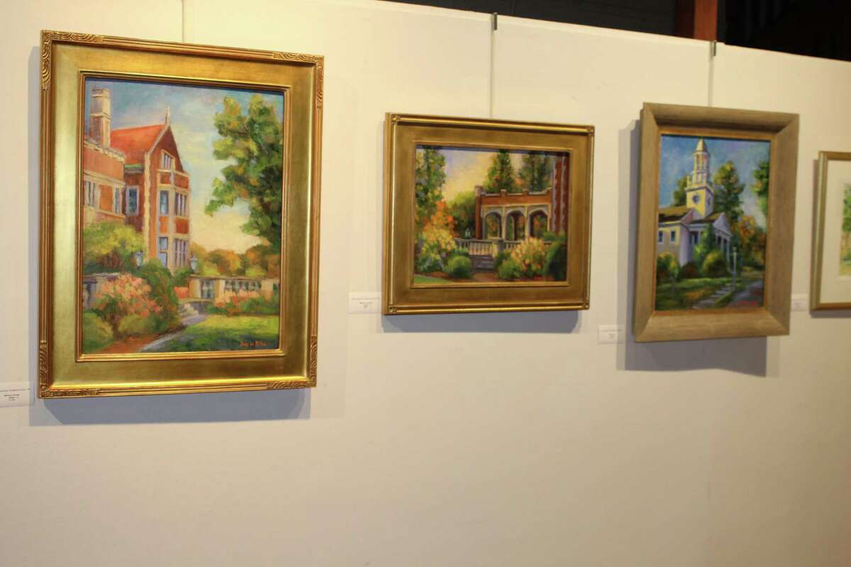 """Two views of Waveny House and The Congregational Church of New Canaan are among the works on display as part of the """"Capturing New Canaan,"""" the third annual exhibition of plein air paintings from one day in town, now on display at the Carriage Barn Arts Center in Waveny Park."""