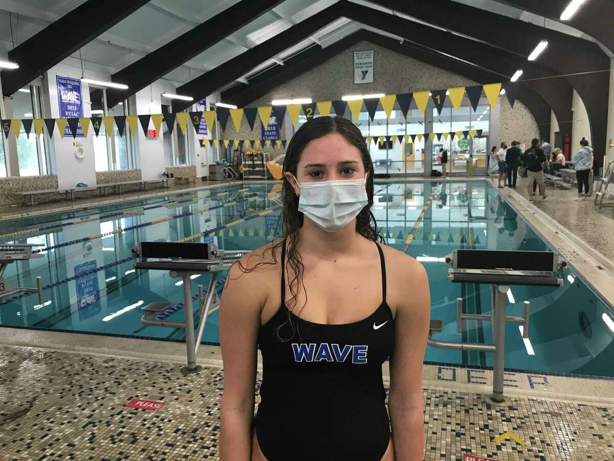 Kendall Luecke helped lead the Darien girls swim team to victory against rival New Canaan on Wednesday, October 21, 2020.