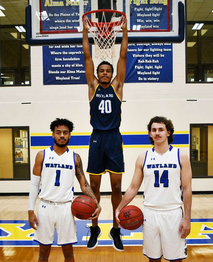 Returning players Tre Fillmore, Jibrael Washington and Jordan Brannon are tasked with leading their young teammates this year for the Wayland Baptist men's basketball team. Photo: Nathan Giese/Planview Herald