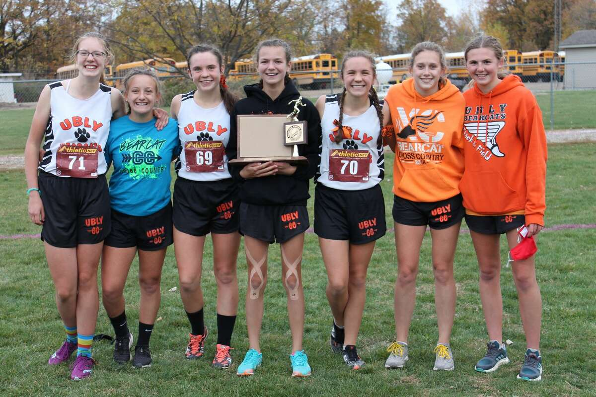 The Ubly girls team consisting of Abbie Guza, Emily Greyerbiehl, Josie Gusa, Erica Klee, Maze Gusa, Alexiss Guigar, Aran Harris also claimed the girls league title on Tuesday. The Bearcats edged Sandusky by two points to claim the crown.