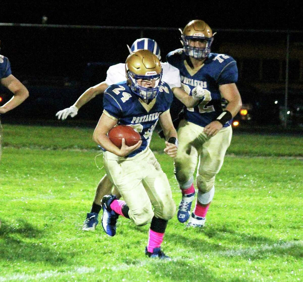 Onekama's Johnny Neph finds space to run during the Portagers' game against Inland Lakes on Oct. 2. (News Advocate file photo)