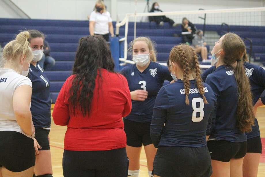 Crossroads Charter Academy's volleyball team pulled out a 3-2 win over Montabella on Wednesday. Photo: John Raffel