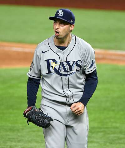 Tampa Bay Rays pitcher Blake Snell reacts after striking out the Los Angeles Dodgers' Will Smith in the fourth inning in Game 2 of the World Series at Globe Life Field in Arlington, Texas, on Wednesday, Oct. 21, 2020. (Wally Skalij/Los Angeles Times/TNS) Photo: Wally Skalij, TNS