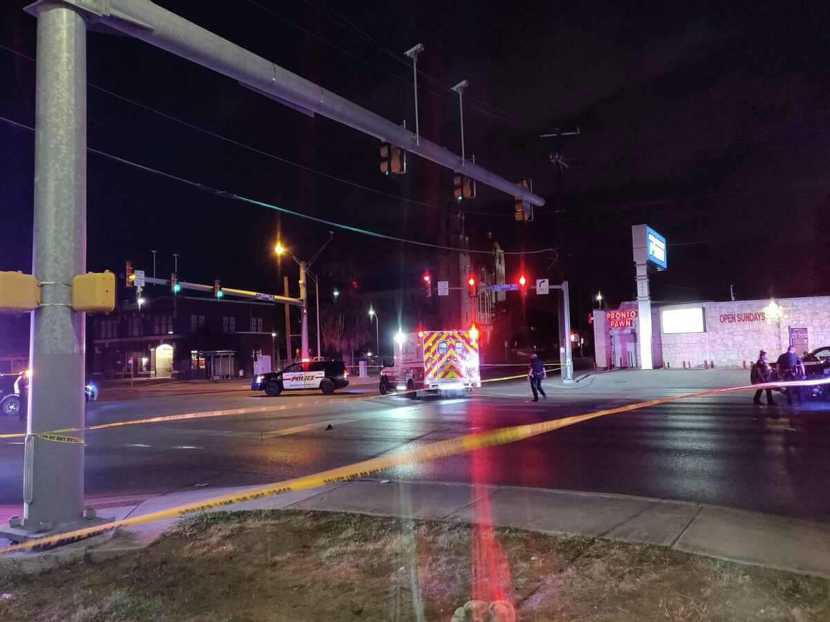 San Antonio police investigate the scene of an accident that left a pedestrian dead at Culebra Road and North Zarzamora Street on Wednesday night.
