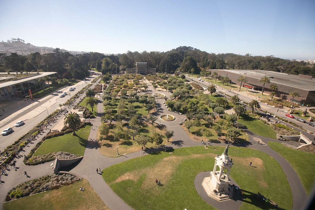The view of Golden Gate Park Musical Concourse and the Pacific Ocean (obscured by low fog) from the top of the 150-foot high SkyStar Observation Wheel. It opened to the public at the Golden Gate Park Music Concourse in San Francisco, California on October 21, 2020.