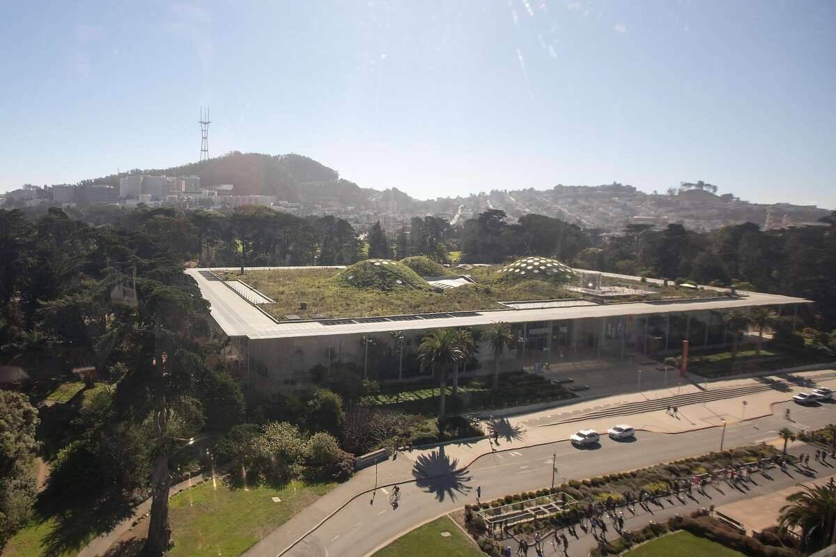 The view of Sutro Tower and the California Academy of Sciences from the top of the 150-foot high SkyStar Observation Wheel. It opened to the public at the Golden Gate Park Music Concourse in San Francisco, California on October 21, 2020.