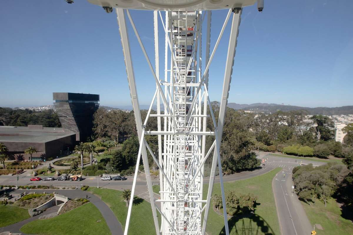 The tip of the Golden Gate Bridge is visible from the SkyStar Observation Wheel. It opened to the public at the Golden Gate Park Music Concourse in San Francisco, California on October 21, 2020.