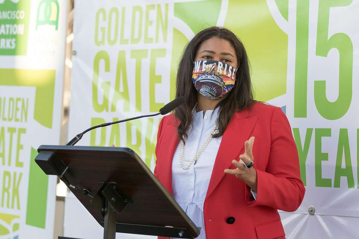 San Francisco Mayor London Breed speaks at the ribbon cutting of the SkyStar Observation Wheel at the Golden Gate Park Music Concourse in San Francisco, California on October 20, 2020.