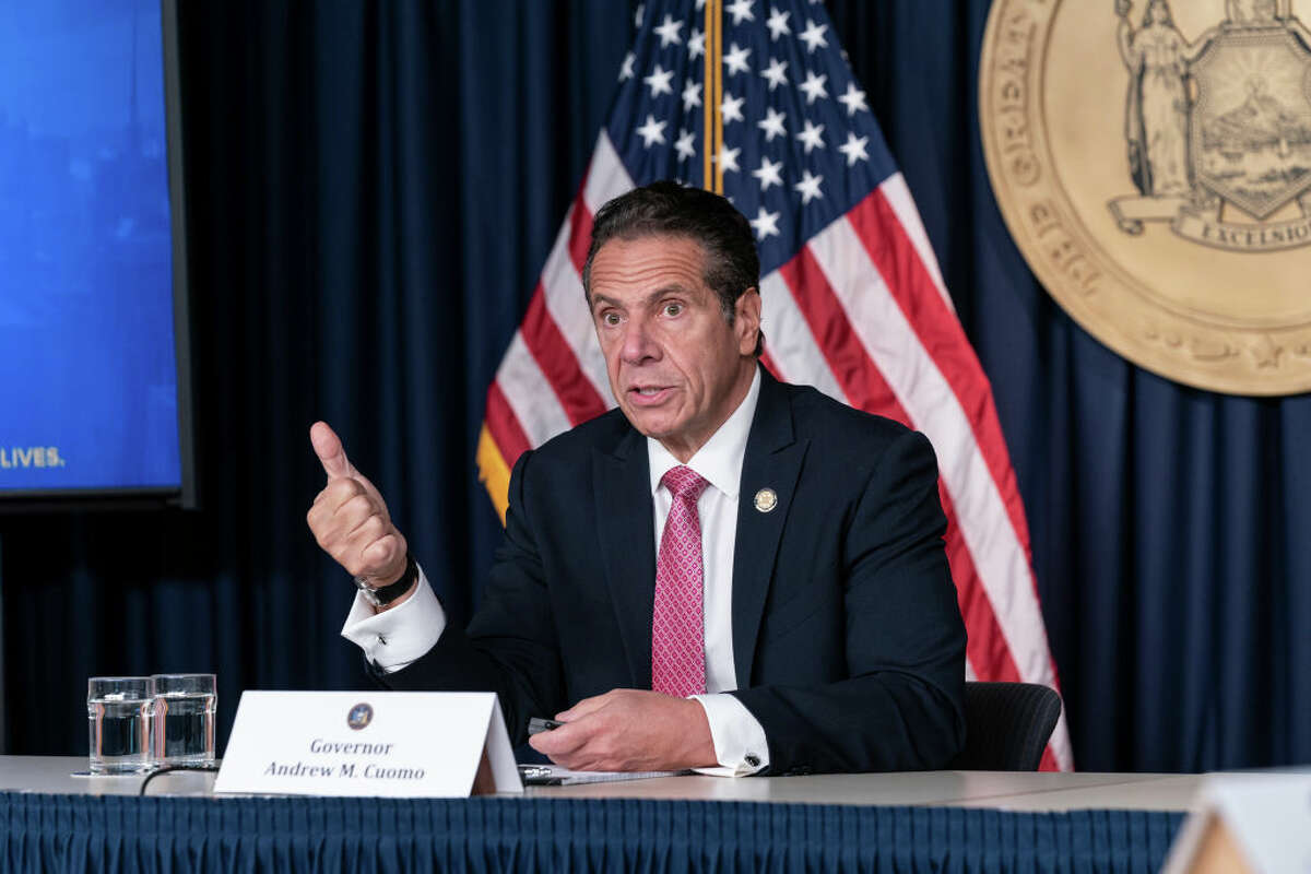 NEW YORK, UNITED STATES - 2020/09/29: New York State Governor Andrew Cuomo holds daily media announcement and briefing at 633 3rd Avenue, Manhattan. Governor discussed Stabilization and Recovery Program for the state as well as uptick of positive infections in some areas of the state. Governor Andrew Cuomo announced that he will meet with Orthodox Jewish leaders to address COVID-19 clusters in communities downstate. He emphasized importance of wearing masks, social distances and enforcement of compliance. (Photo by Lev Radin/Pacific Press/LightRocket via Getty Images)