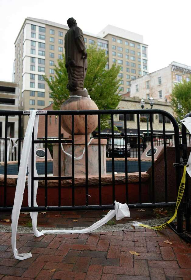 The Christopher Columbus statue in Columbus Park was vandalized with toilet paper on Columbus Day in Stamford Oct. 12. Photo: Tyler Sizemore / Hearst Connecticut Media / Greenwich Time