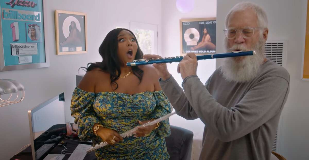 Lizzo is shocked to find out that David Letterman can play the flute in the third season of