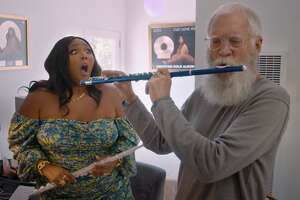 Lizzo is shocked to find out that David Letterman can play the flute in the third season of 'My Next Guest Needs No Introduction with David Letterman.'