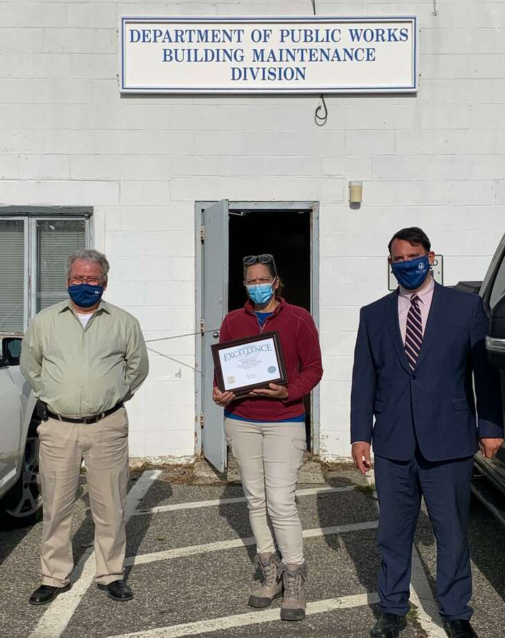 Building Maintenance Superintendent Sly Moura, Sandra Santos and Mayor Ben Blake. Photo: Contributed / City Of Milford