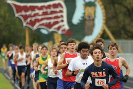 Pana's Brayden Cordero leads the field during the first of two laps on the track before the race turns cross country in the South Central Conference Meet at Southwestern High School in Piasa. Litchfield won the team title, while Roxana senior Carlos Ruvalcaba repeated as individual champion.