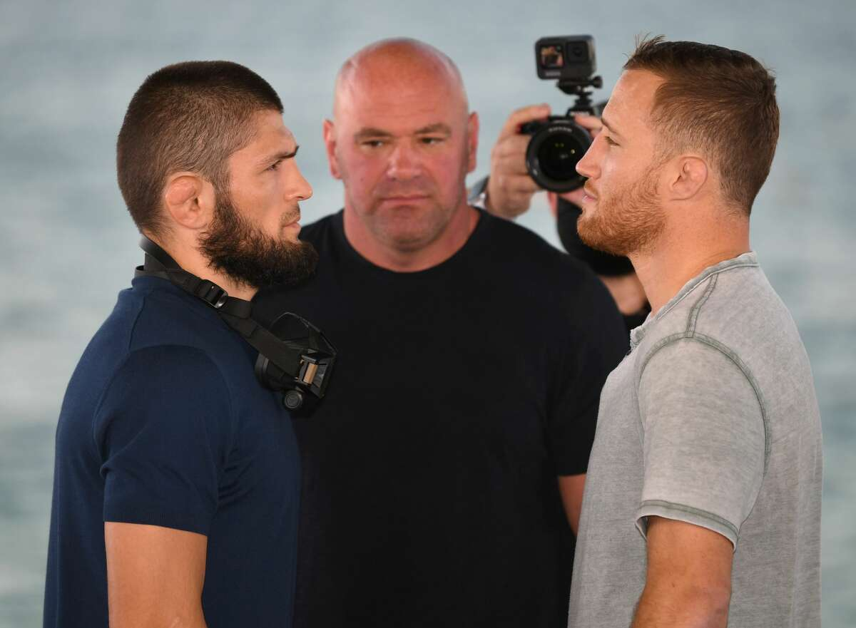 ABU DHABI, UNITED ARAB EMIRATES - OCTOBER 21: (L-R) Opponents Khabib Nurmagomedov of Russia and Justin Gaethje face off during the UFC 254 press conference at Yas Beach on October 21, 2020 on UFC Fight Island, Abu Dhabi, United Arab Emirates. (Photo by Josh Hedges/Zuffa LLC)