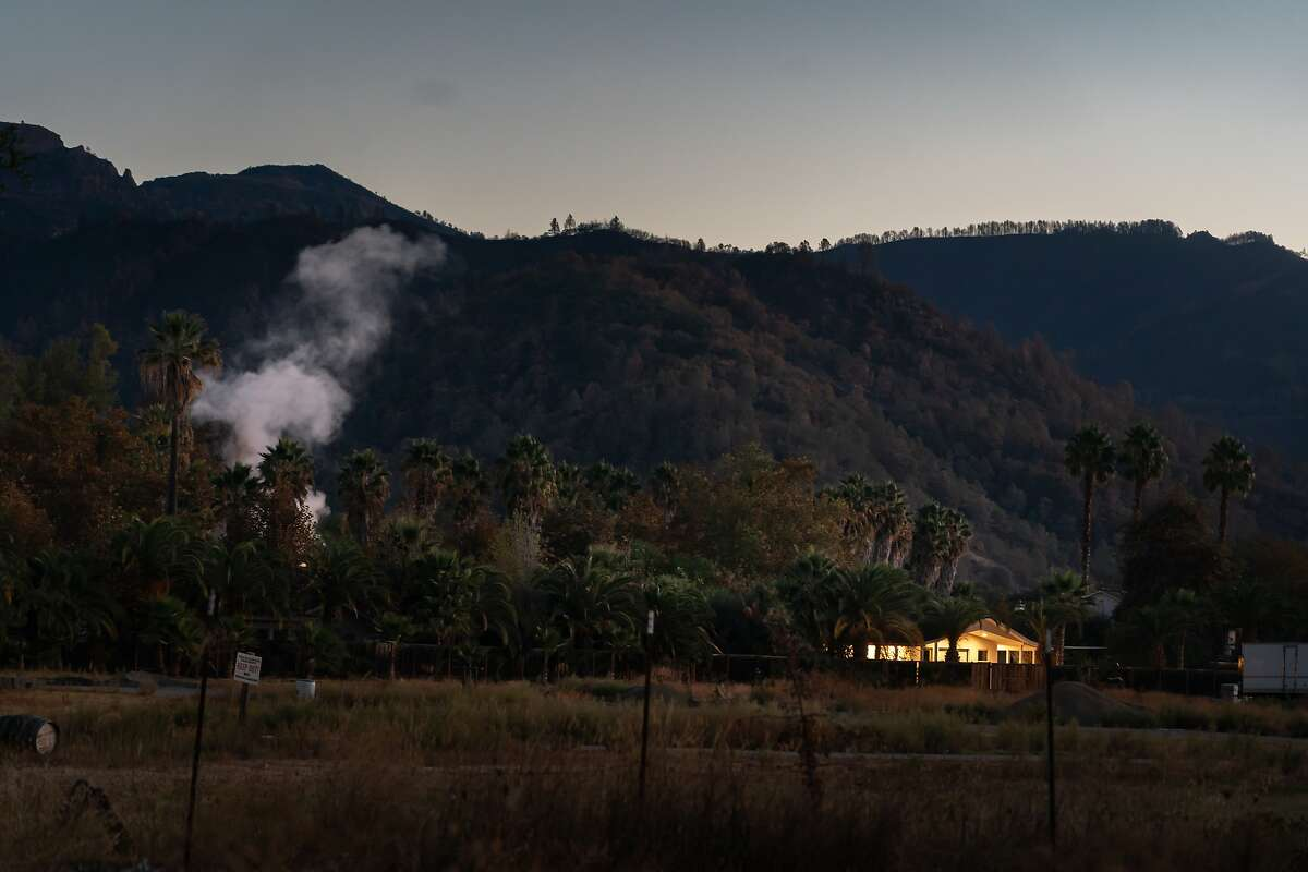 A geyser shoots steam near a house at Indian Springs in Calistoga.The Bay Area is bracing for extemely dangerous fire conditions starting Saturday.