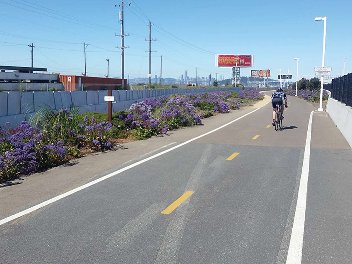 The Judge John Sutter Regional Shoreline has a connection to the Bay Bridge Bicycle-Pedestrian Trail.