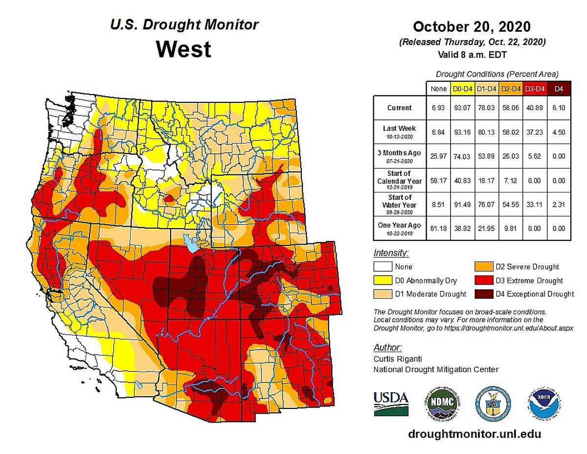 Western drought conditions as of Oct. 20, 2020.
