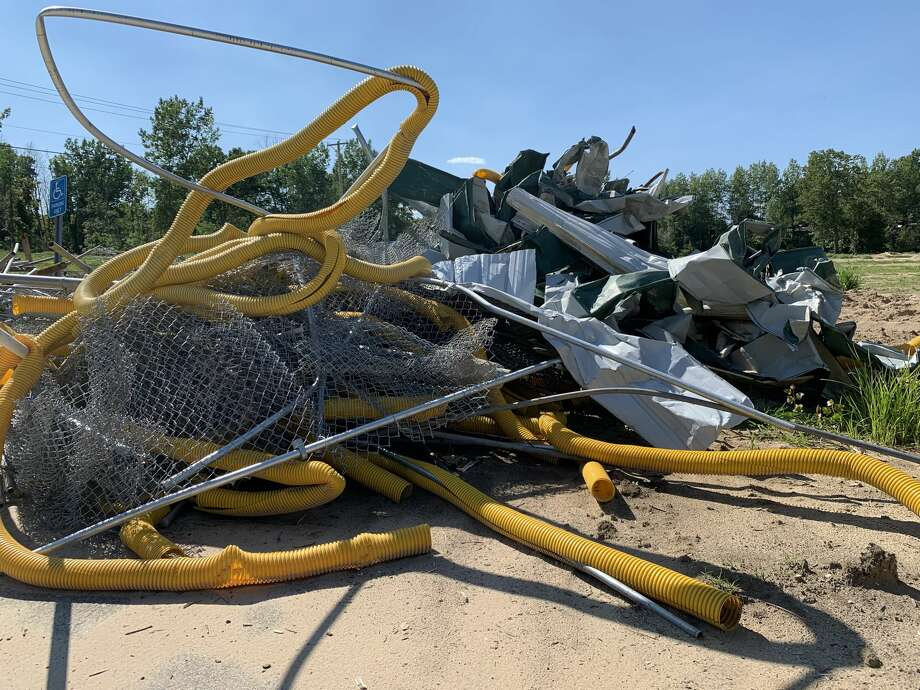 Images of the destruction in Sanford Village Park as the result of flooding are seen in this Aug. 12, 2020 photo Photo: Daily News File Photo