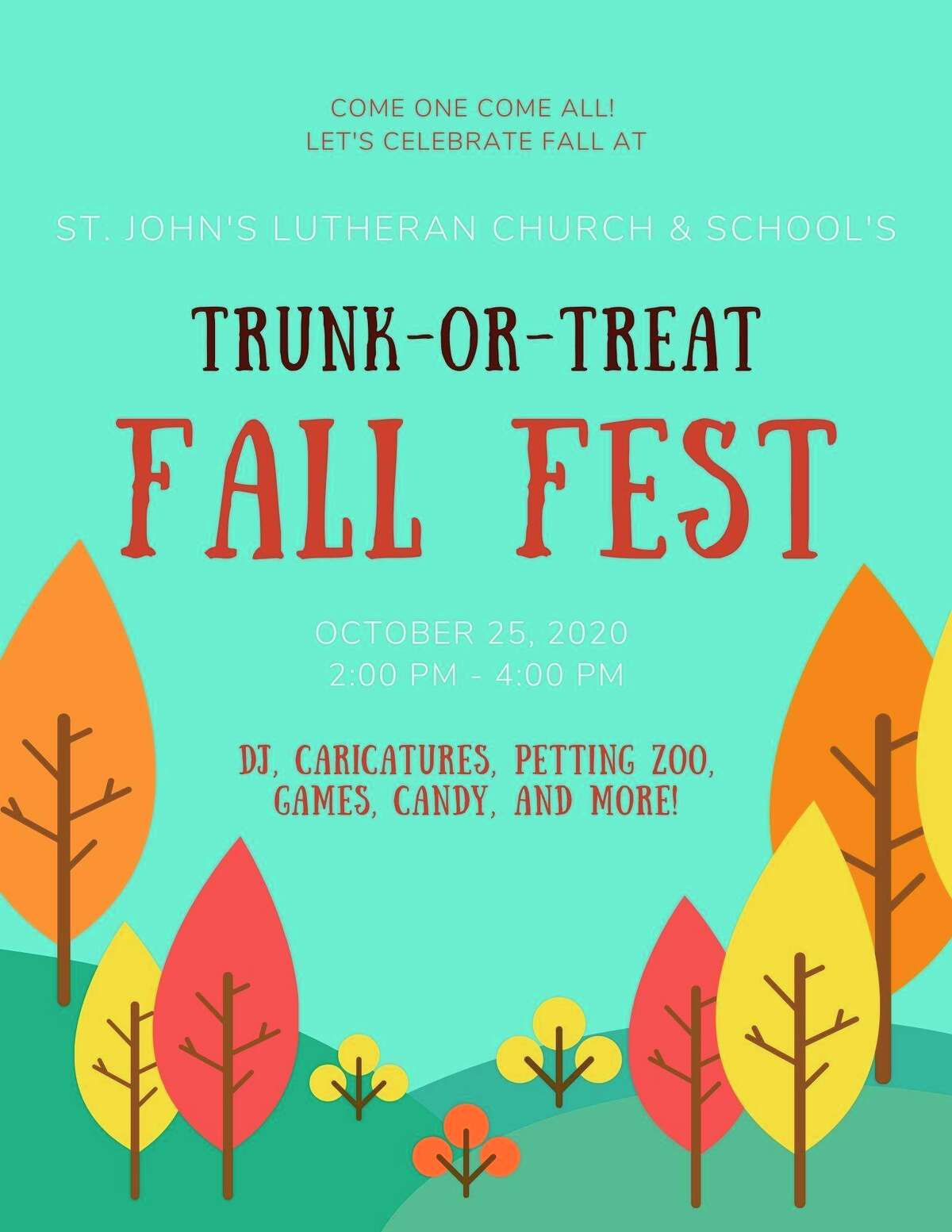 Sunday, Oct. 25: St. John's Lutheran Church is putting a new twist on an old favorite! Trunk-or-Treat Fall Fest will take place on from 2-4 p.m. in the parking lot of St. John's. (Photo provided/St. John's Facebook)