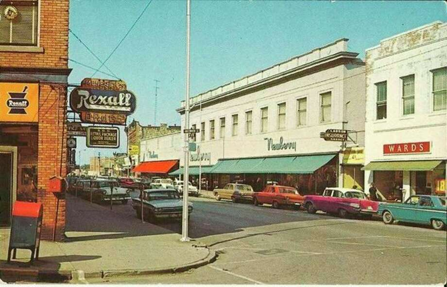 A view of River Street at the corner of Greenbush Street circa mid-1960s. (Manistee County Historical Museum photo)