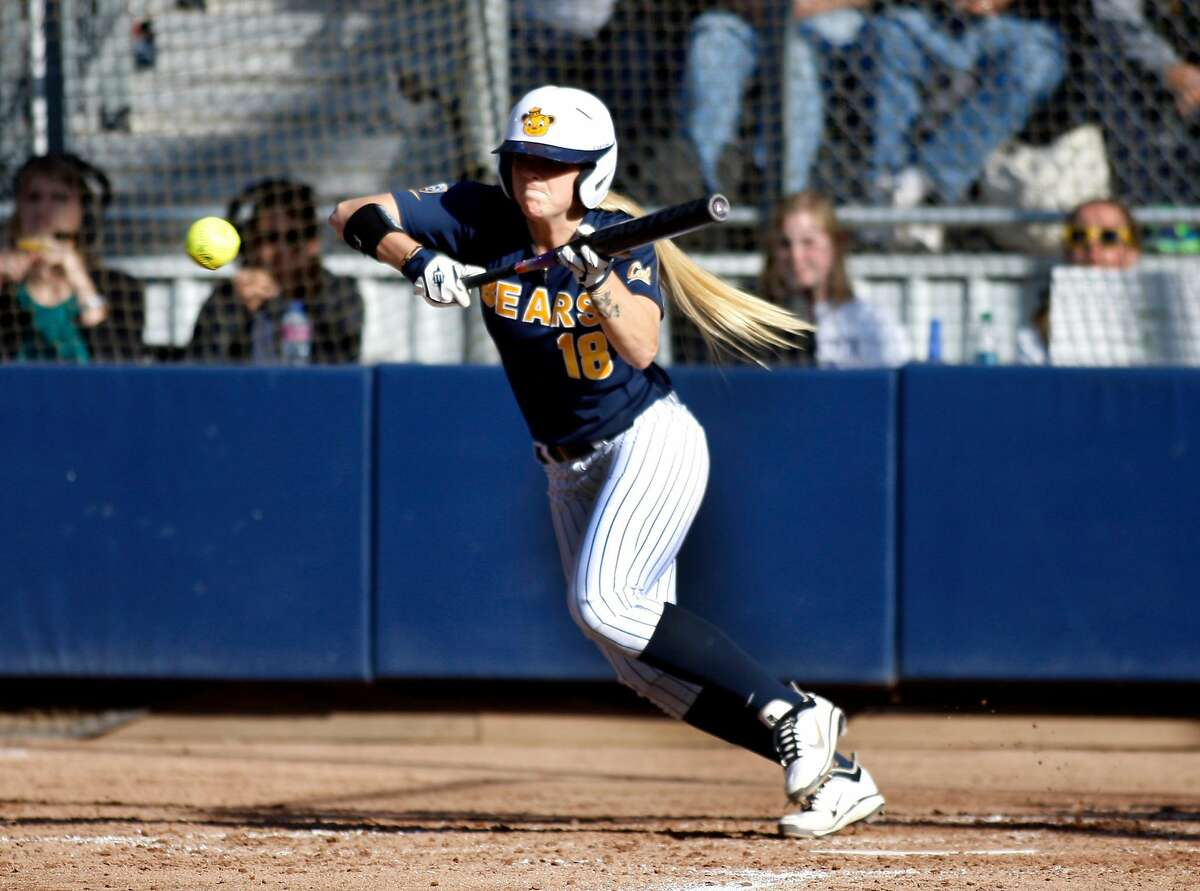 Britt Vonk of the Cal Bears lunges her body towards the ball during the NCAA super regional game versus Washington University on Sunday. Cal women's softball defeated Washington University on Sunday at Levine-Fricke Field in Berkeley during the final game of the NCAA super regional.