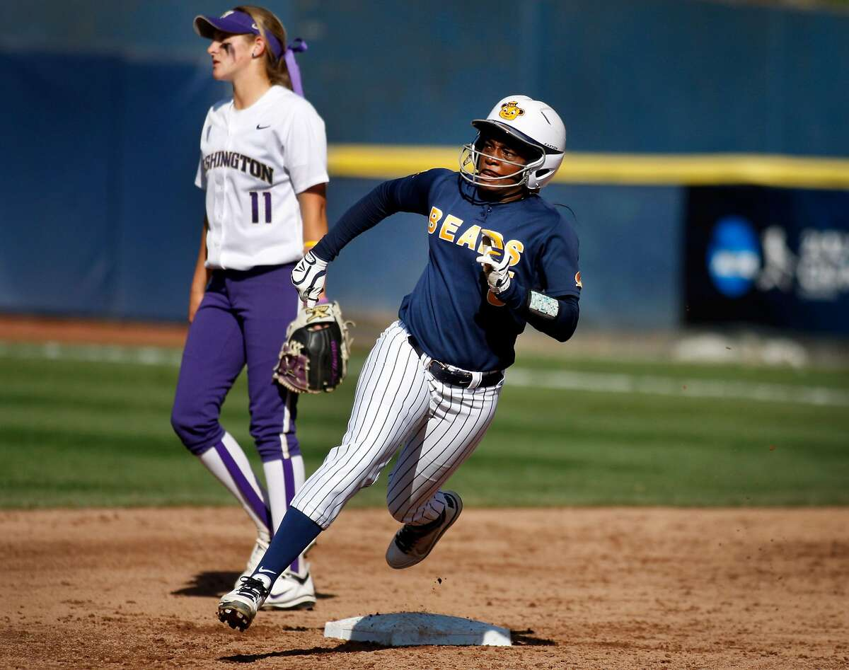 Cal's Elia Reid rounds second base during the super regional game versus Washington University on Sunday. Cal women's softball defeated Washington University on Sunday at Levine-Fricke Field in Berkeley during the final game of the NCAA super regional.
