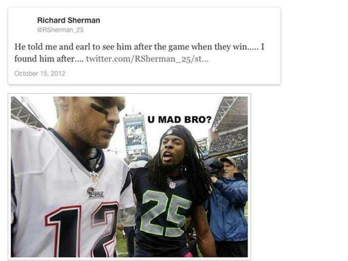 Richard Sherman talks trash to Tom Brady after the Seahawks' 24-23 victory in 2012.