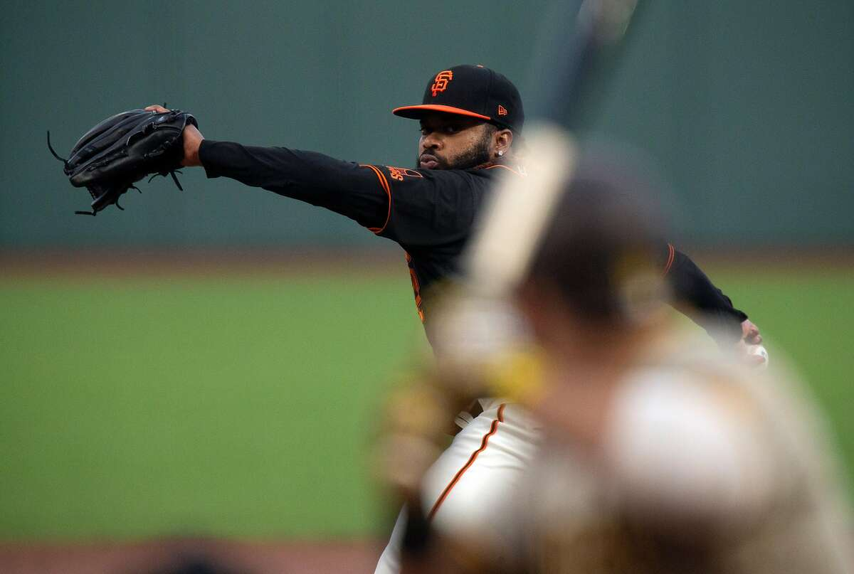 San Francisco Giants starting pitcher Johnny Cueto (47) delivers a pitch against the San Diego Padres during the second inning of a Major League Baseball game on Saturday, Sept. 26, 2020 in San Francisco, Calif.