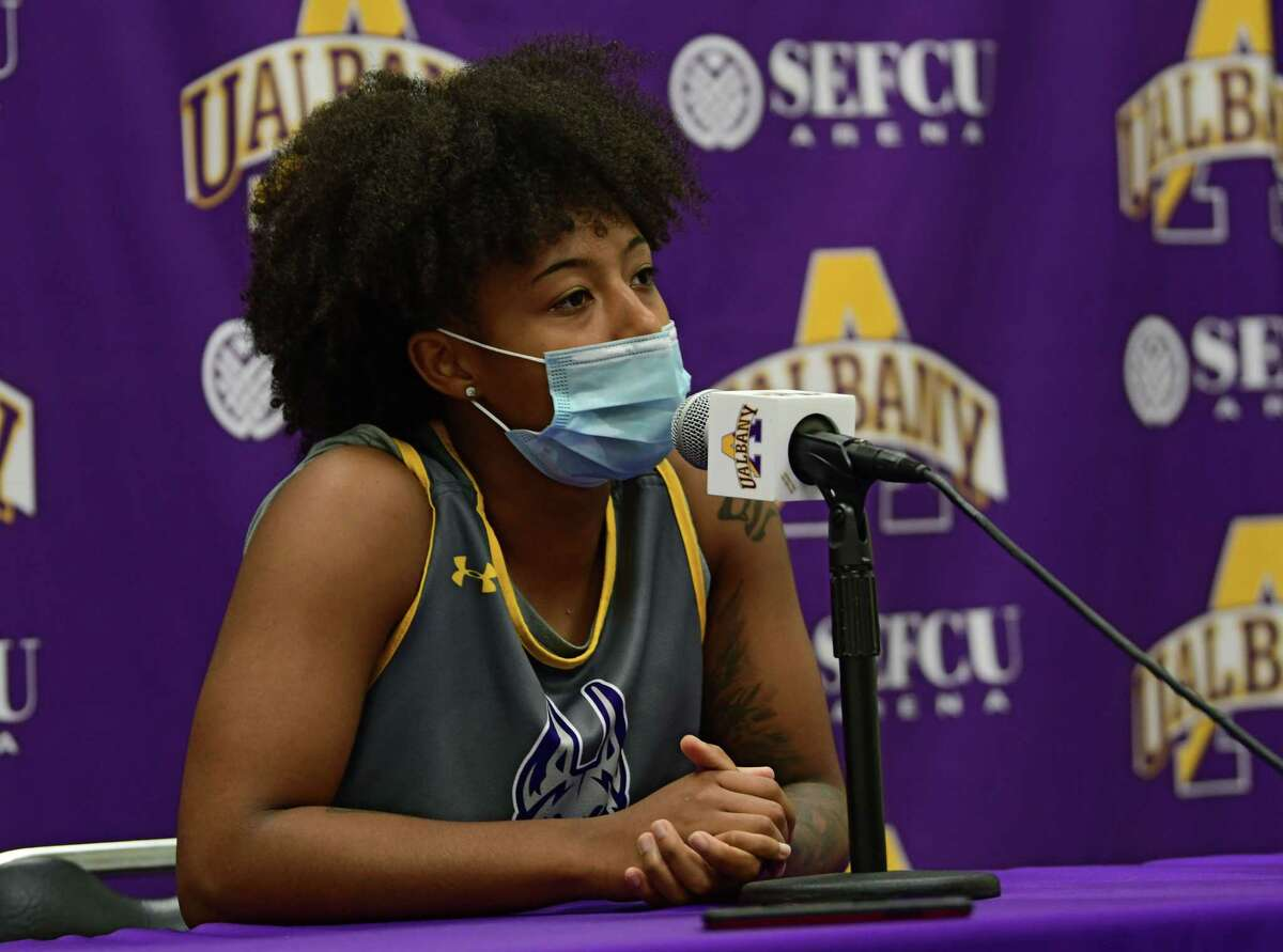 University at Albany's University at Albany's Kyara Frames talks to the press after the women's basketball team practiced at the SEFCU Arena on Wednesday, Oct. 21, 2020 in Albany, N.Y. (Lori Van Buren/Times Union)