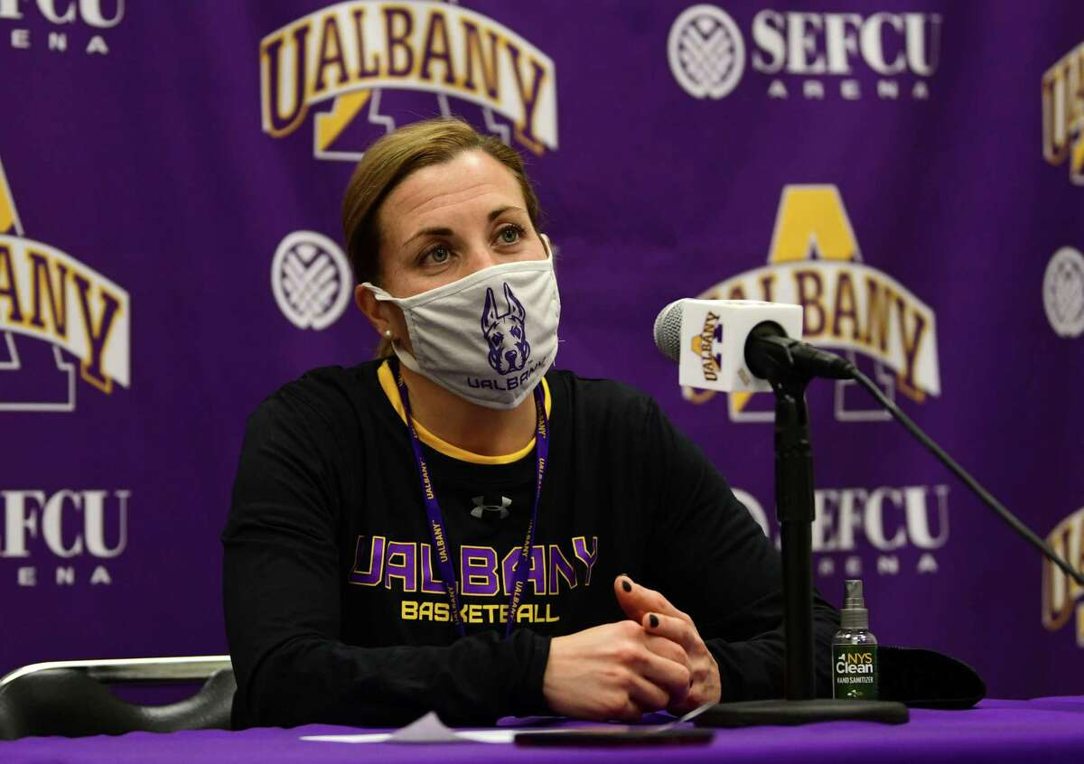 University at Albany head coach Colleen Mullen talks to the press after the women's basketball team practiced at the SEFCU Arena on Wednesday, Oct. 21, 2020 in Albany, N.Y. (Lori Van Buren/Times Union)