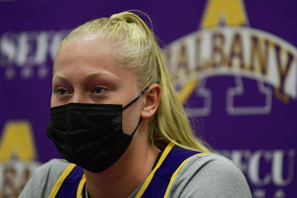 University at Albany's Helene Haegerstrand talks to the press after the women's basketball team practiced at the SEFCU Arena on Wednesday, Oct. 21, 2020 in Albany, N.Y. (Lori Van Buren/Times Union)