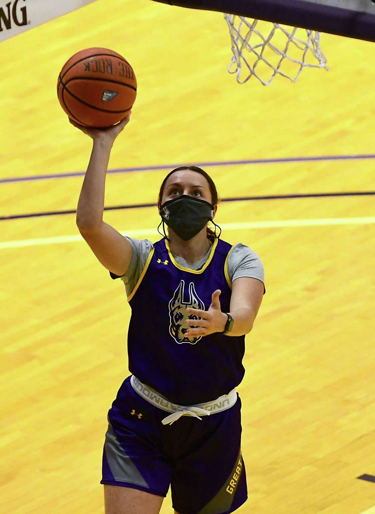 Morgan Haney makes a layup as the University at Albany women's basketball team practices on Wednesday, Oct. 21, 2020 in Albany, N.Y. (Lori Van Buren/Times Union)