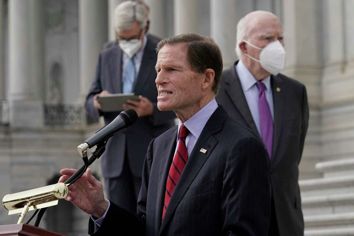 Sen. Richard Blumenthal, D-Conn., and Democratic members of the Senate Judiciary Committee hold a news conference after boycotting the vote by the Republican-led panel to advance the nomination of Judge Amy Coney Barrett to sit on the Supreme Court, Thursday, Oct. 22, 2020, in Washington. (AP Photo/J. Scott Applewhite)