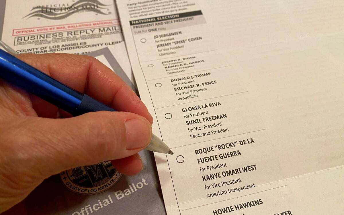 This illustration photo shows a California ballot for the 2020 US presidential election listing US rapper Kanye West as Vice Presidential running mate to Roque