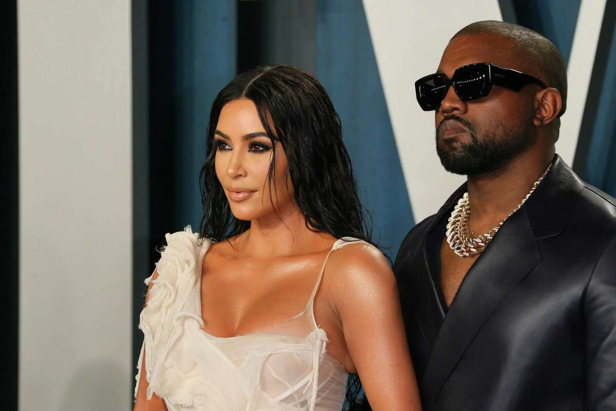 Media personality Kim Kardashian and husband rapper Kanye West attend the 2020 Vanity Fair Oscar Party following the 92nd Oscars at The Wallis Annenberg Center for the Performing Arts in Beverly Hills on February 9, 2020. (Jean-Baptiste Lacroix/AFP via Getty Images)