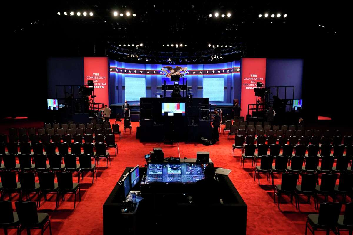 Preparations take place for the second Presidential debate between President Donald Trump and Democratic presidential candidate, former Vice President Joe Biden at Belmont University, Thursday, Oct. 22, 2020, in Nashville, Tenn.