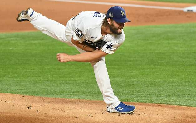 Los Angeles Dodgers pitcher Clayton Kershaw works in the first inning against the Tampa Bay Rays in Game 1 of the World Series at Globe Life Field in Arlington, Texas, on Tuesday, Oct. 20, 2020. (Wally Skalij/Los Angeles Times/TNS) Photo: Wally Skalij, TNS