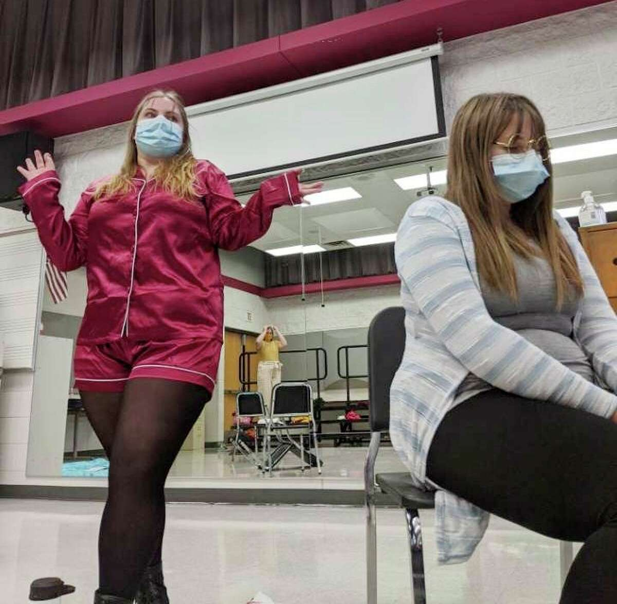 Eliza Taubitz (left) and Makenah Reed (right) rehearse their parts in Mortals. (Courtesy photo)