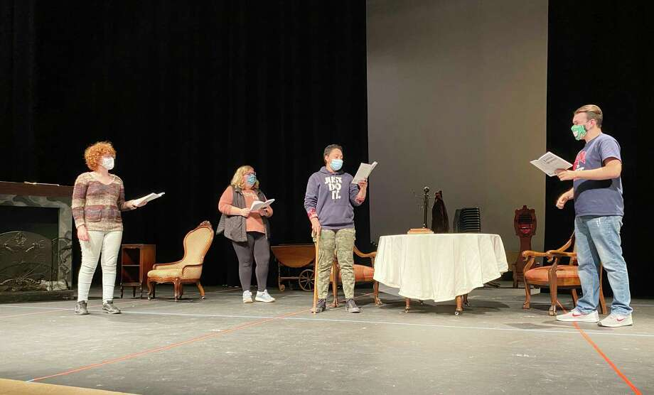 (From left) Siri Quist, Addison Bentley, Marley Carlen, and JT Ferrandino rehearse a scene from Little Women. (Courtesy photo)