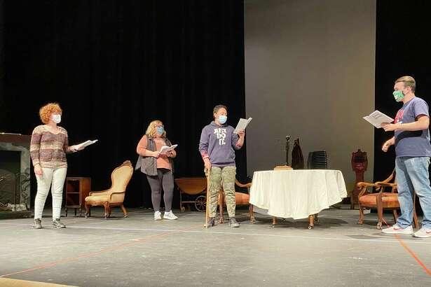 (From left) Siri Quist, Addison Bentley, Marley Carlen, and JT Ferrandino rehearse a scene from Little Women. (Courtesy photo)